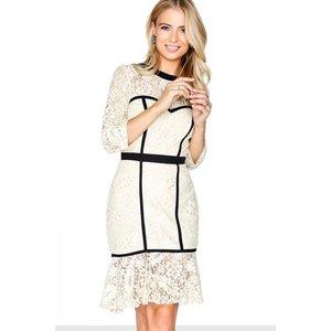 Paper Dolls Cream Peplum Dress Size: 6 Uk, Colour: Black / Cream S8pd0105cr6