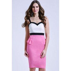 Paper Dolls Cream, Pink And Black Peplum Dress  Size: 10 Uk, Colour: M Ss15 Pdac024 2410