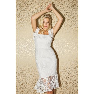 Paper Dolls Fonteyn White Lace Peplum Midi Dress Size: 8 Uk, Colour: W S20pd0101wh8