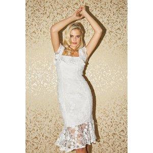Paper Dolls Fonteyn White Lace Peplum Midi Dress Size: 14 Uk, Colour: S20pd0101wh14