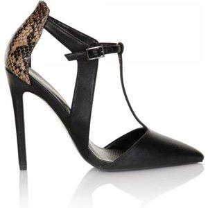 Paper Dolls Footwear Black Snake T-bar Court Shoes Size: Footwear 8 Uk Aw15 Pdsf005 998