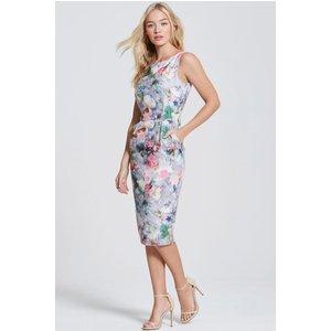 Paper Dolls Grey Floral Print Pocket Dress Size: 6 Uk, Colour: Print Aw16 Pdab004 246
