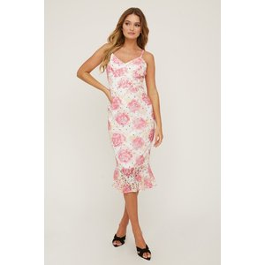 Paper Dolls Hatton Floral-print Lace Frill Midi Dress Size: 6 Uk, Colo S20pd0147mu6