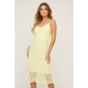 Paper Dolls Hatton Sunshine Lace Frill Midi Dress Size: 16 Uk, Colour: S20pd0102yl16