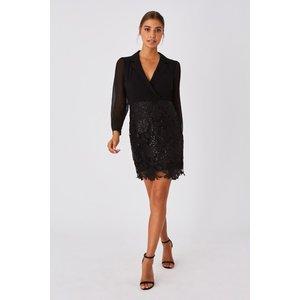 Paper Dolls Juniper Black Shirt And Lace Mini Dress Size: 10 Uk, Colou A9pd0118bk10
