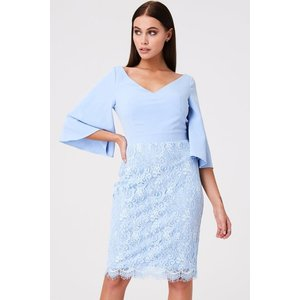 Paper Dolls Lancaster Blue Lace Dress With Bow Size: 12 Uk, Colour: Bl S9pd0111bl12