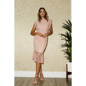 Paper Dolls Latimer Pale Pink Lace Peplum Midi Dress Size: 6 Uk, Colou S20pd0107pk6