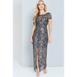 Paper Dolls Metallic Black Crochet Maxi Dress Size: 16 Uk, Colour: Bla Aw16 Pdad005 9916