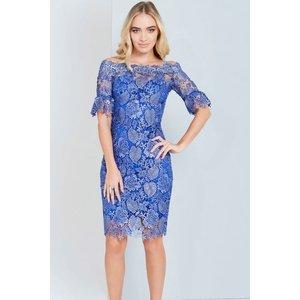 Paper Dolls Metallic Blue Crochet Lace Dress Size: 10 Uk, Colour: Blue Aw16 Pdac004 7010