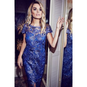 Paper Dolls Metallic Blue Crochet Maxi Dress Size: 14 Uk, Colour: Blue Aw16 Pdad004 7014