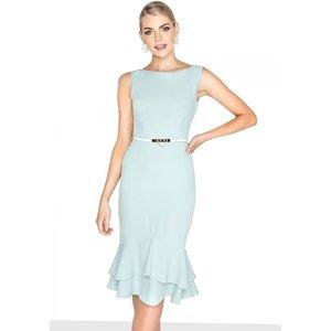 Paper Dolls Mint Peplum Dress Size: 16 Uk, Colour: Mint S8pd0149gr16