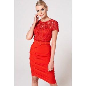 Paper Dolls Nala Tomato Crochet Belted Dress Size: 6 Uk, Colour: Tomat A9pd0103rd6