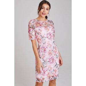 Paper Dolls Nantes Blush Floral-print Lace Dress Size: 12 Uk, Colour: A9pd0102mu12