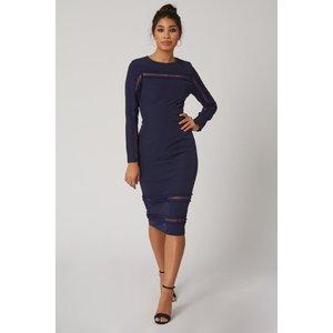 Paper Dolls Napa Navy Lace-trim Bodycon Dress Size: 16 Uk A9pd0107ny16