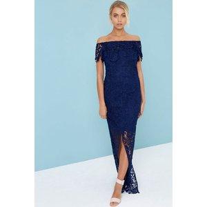 Paper Dolls Navy Bardot Maxi Dress Size: 16 Uk, Colour: Navy A7pd0111ny16