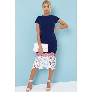 Paper Dolls Navy Crochet Hem Bodycon Dress Size: 6 Uk, Colour: Navy /c A7pd0107ny6