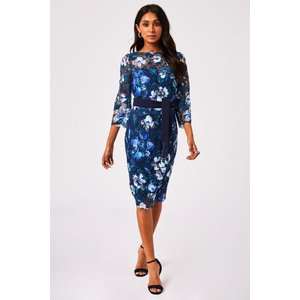 Paper Dolls Nuoro Navy Floral-print Crochet Lace Midi Dress Size: 14 U S20pd0101ny14