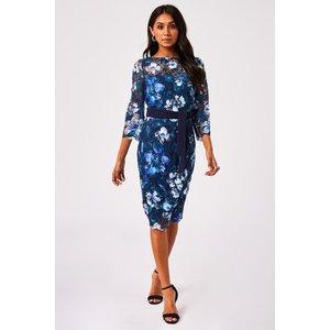 Paper Dolls Nuoro Navy Floral-print Crochet Lace Midi Dress Size: 6 Uk S20pd0101ny6