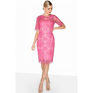 Paper Dolls Pink Crochet Dress Size: 16 Uk, Colour: Pink S8pd0128pk16