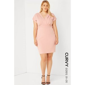 Paper Dolls Pink Kimono Dress Size: 26 Uk, Colour: Pink S7pc0107pk26