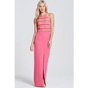 Paper Dolls Pink Stripe Lace Halter Maxi Dress  Size: 16 Uk, Colour: P Aw16 Pdab008 5016