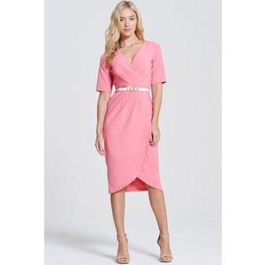Paper Dolls Pink Wrap Midi Dress Size: 16 Uk, Colour: Coral Aw16 Pdab007 5016