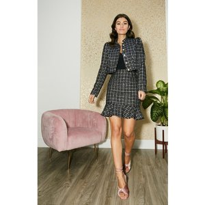 Paper Dolls Rossa Navy Boucle Pephem Mini Skirt Co-ord Size: 16 Uk, Co S20pd0501ny16