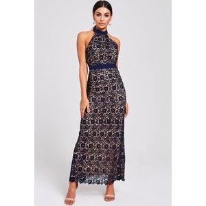 Paper Dolls Salem Navy Lace Halter Maxi Dress Size: 10 Uk, Colour: Nav S9pd0106ny10