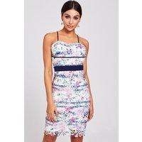 Paper Dolls Solon Floral-print Lace Dress Size: 14 Uk, Colour: Floral S9pd0128mu14