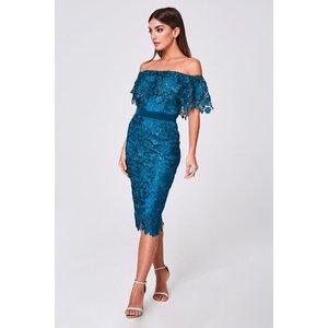 Paper Dolls Terran Teal Crochet-lace Bardot Midi Dress Size: 16 Uk, Co A9pd0107gr16