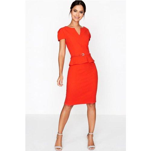 Paper Dolls Tomato Peplum Dress Size: 8 Uk, Colour: Tomato A7pd0133rd8