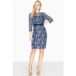 Paper Dolls Vichy Two Tone Lace Dress With Binding Size: 14 Uk, Colour A8pd0134bl14