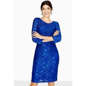 Paper Dolls Visby Long Sleeve Lace Dress Size: 12 Uk, Colour: Cobalt A8pd0135bl12