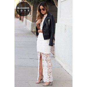 Paper Dolls White Crochet Split Front Maxi Dress Size: 16 Uk, Colour: Ss16 Pdad003 0016