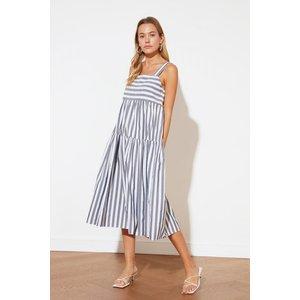Trendyol Navy Stripe Midi Smock Dress Size: 8 Uk, Colour: Navy Ss21el1601ny8