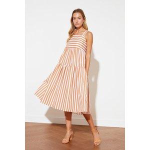 Trendyol Stripe Midi Smock Dress Size: 12 Uk, Colour: Brick Ss21el1601br12
