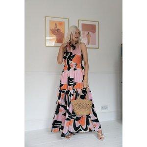 Zibi London Hepburn Satin Maxi Dress Size: 8 Uk, Colour: Orange Pink Littlemistress130183
