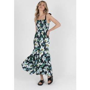 Zibi London Louisa Satin Maxi Dress Black Floral Size: 14 Uk, Colour: Littlemistress130166