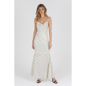 Zibi London Lucy Dotted Maxi Dress Size: 10 Uk, Colour: Multi White Littlemistress137572