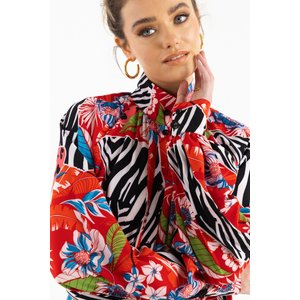 Zibi London Pinko Shirt Printed Shirt Size: 10 Uk, Colour: Multi Red Littlemistress137579
