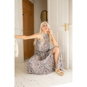 Zibi London Polly Blue Cashmere Print Maxi Dress Size: 12 Uk, Colour: Littlemistress130175