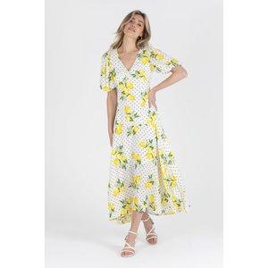 Zibi London Riley Lemon Maxi Dress Size: 8 Uk, Colour: Multi Lemon Littlemistress130058