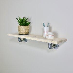 Ziito H4 - Wood Shelf With Pipe Bracket Below Shelf 31985268031557
