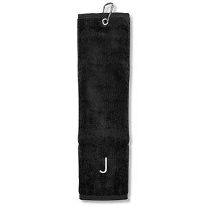 Surprizeshop J' Embroidered Tri Fold Towel-black