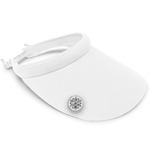 Surprizeshop Ladies Golf Wide Brimmed Telephone Wire Visor With Crystal Ball Marker - White