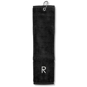 Surprizeshop R' Embroidered Tri Fold Towel-black