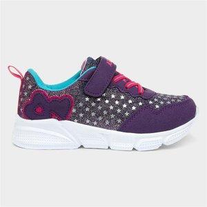 Ascot Heart Kids Purple Glitter Trainer 80771 Childrens Footwear