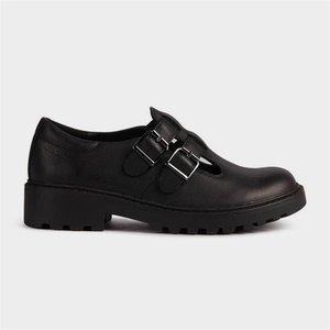 Geox Girls Casey Black Leather Shoe Sizes 32-39 204031 Childrens Footwear