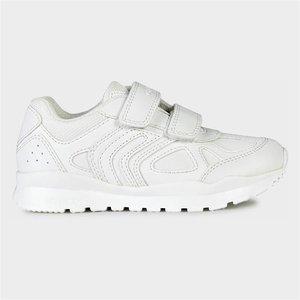 Geox Pavel Kids Easy Fasten Shoe In White 203021 Childrens Footwear
