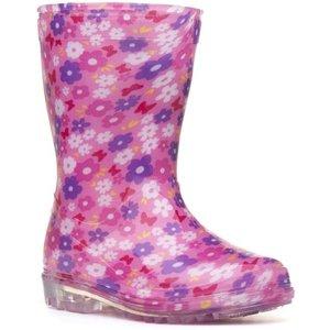 Zone Girls Pink Floral Wellington 79158 Childrens Footwear